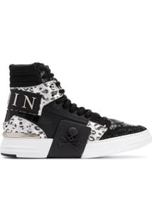 Philipp Plein Phantom Kick$ High Top Sneakers - Preto