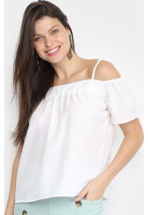 Blusa Allexia Open Shoulder Feminina - Feminino-Branco