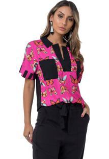 Camisa Moikana Crepe Borboleta C/ Bolsos Rosa