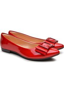 Sapatilha Feminina Verniz Bico Fino Laã§O Fashion Conforto Azul 34 Vermelho - Vermelho - Feminino - Sintã©Tico - Dafiti