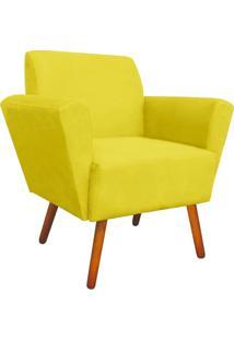 Poltrona Decorativa Dora Suede Amarelo - D'Rossi