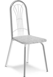 Cadeira Cromada Carmen Fantasia Branca