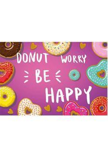 "Tapete Transfer ""Donut Be Worry""- Lilã¡S & Branco- 60Tapetes Junior"