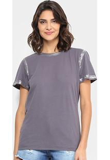 Camiseta Lança Perfume Glitter Feminina - Feminino-Cinza