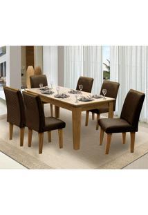 Mesa Para Sala De Jantar Saint Michel Com 6 Cadeiras – Dobuê Movelaria - Mell / Bege / Chocolate