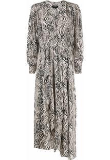 Isabel Marant Vestido Com Estampa De Zebra - Neutro