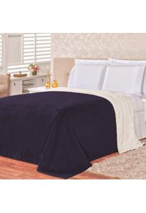 Cobertor Malmo Azul Marinho Dupla Face Queen - Tecido Sherpa E Manta Microfibra - Tricae