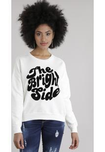 """Blusão Em Moletom """"The Bright Side"""" Off White"""