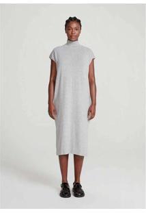 Vestido Midi Manga Curta Em Tricot Com Algodão Cin