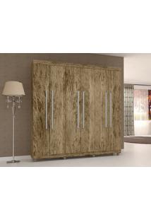Guarda-Roupa 6 Portas Elegance Castanho Rústico - Lc Móveis