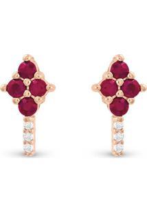 Brinco Ouro Rose Diamantes E Rubi