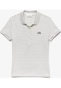 Camisa Polo Lacoste Slim Fit Listrado Com Stretch Feminina - Feminino