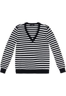 Blusa Tricô Hering Básico Listrado Feminina - Feminino-Preto+Branco