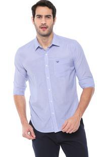 Camisa Colombo Reta Padronagem Azul/Branca