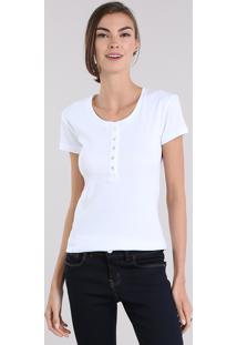 Blusa Feminina Básica Com Botões Manga Curta Decote Redondo Branca