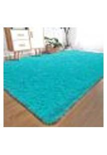 Tapete Saturs Shaggy Pelo Alto Azul Turquesa - 140 X 200 Cm Tapete Para Sala E Quartos