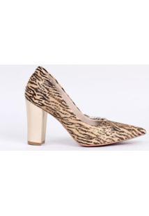 Scarpin Salto Bloco 10Cm Pelo Leopardo Cbk Feminino - Feminino-Dourado