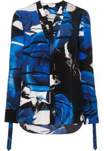 Alexander Mcqueen Abstract Rose Print Blouse - Azul
