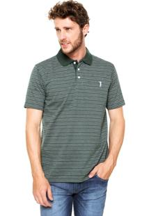 Camisa Polo Aleatory Jacquard Mini Print Verde