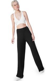 Calça Pantalona Com Listra Lateral