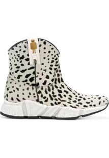Texas Robot Ankle Boot De Couro Animal Print - Branco
