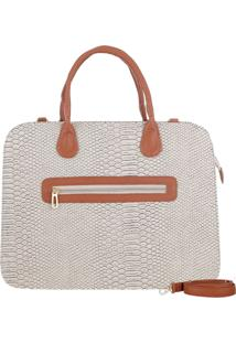 Bolsa Mevisto Pasta Executiva Notebook Bege Serpente