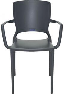 Cadeira Sofia Braços E Encosto Fechado Grafite Tramontina