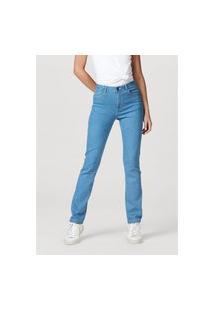 Calça Hering Jeans Modelagem Reta Em Algodão E Elastano Azul Marinho