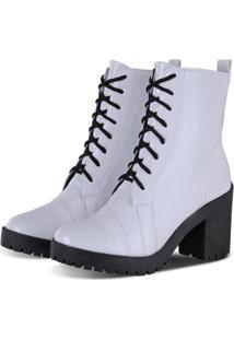 Bota Sapato Flex Tratorada Feminina - Feminino-Branco