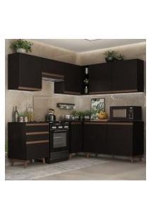 Cozinha Completa De Canto Madesa Reims 392001 Com Armário E Balcão Preto Cor:Preto