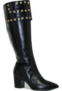 Bota Zariff Shoes Montaria Em Couro Zíper Feminina - Feminino-Preto