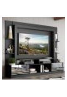 "Rack C/ Painel Tv 65"" Portas C/ Espelho Oslo Multimóveis Preto/Tenerife"