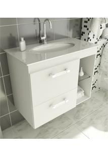 Gabinete Para Banheiro 80 Cm Com 2 Peças Vetro 12 Branco Tomdo