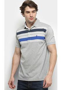 Camisa Polo Aleatory Listrada - Masculino-Cinza