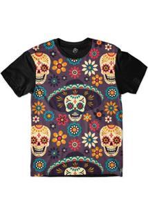 Camiseta Bsc Mexican Hat Skull Sublimada Masculina - Masculino-Roxo