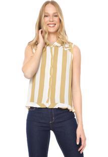 Camisa Hering Listrada Off-White/Amarela