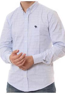 Camisa Abercrombie Masculina Pattern Poplin Light Blue