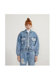 Jaqueta Cropped Jeans Com Estampa Garfield Nas Costas | Garfield | Azul | G