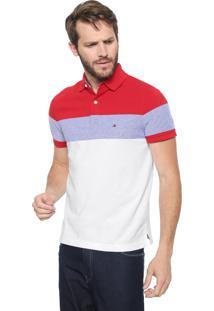Camisa Polo Tommy Hilfiger Reta Dylan Vermelha/Branca