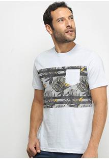Camiseta Mood Folhas Masculina - Masculino-Cinza