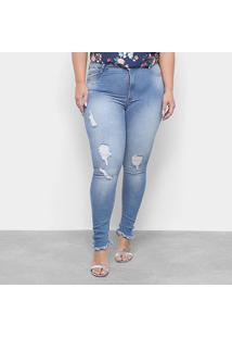 Calça Jeans Skinny Sawary Estonada Puídos Barra Desfiada Plus Size Feminina - Feminino-Azul
