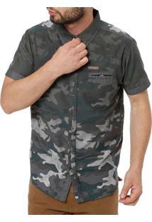 Camisa Manga Curta Camuflada Masculina Gangster Verde