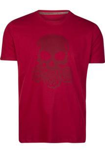 Camiseta Khelf Caveira Flores Vinho