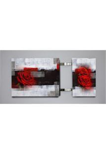 Quadro Rosa Cinza 60X115Cm