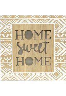 Quadro Decorativo Dourado Com Led Sweet Home 24X24Cm Urban Home