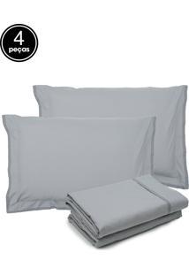 Jogo De Cama 4Pçs Casal Buddemeyer Basic Premium 200 Fios Cinza