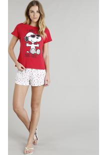 Pijama Feminino Snoopy Manga Curta Vermelho
