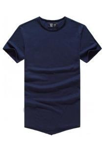 Camiseta Masculina Longline Manga Curta - Azul Marinho