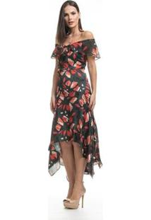 Vestido Clara Arruda Longo Decote Babado Feminino - Feminino-Estampado