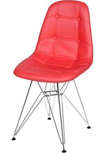 Cadeira Eames Botone Vermelha Base Cromada - 39066 - Sun House